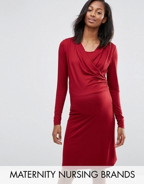 photo Maternity Karry Nursing Dress by Mamalicious, color Red - Image 1