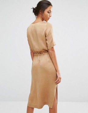 photo Chari Tie Dress by Selected, color Toasted Coconut - Image 2
