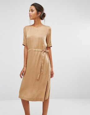 photo Chari Tie Dress by Selected, color Toasted Coconut - Image 1