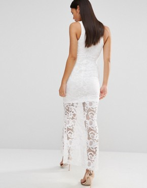 photo Cassil Floral Lace Maxi Dress with Plunge Neck by WYLDR, color Ivory - Image 2