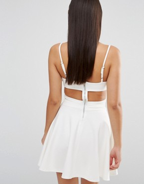 photo In Love Cut Out Skater Dress by WYLDR, color Ivory - Image 2