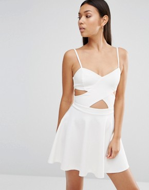 photo In Love Cut Out Skater Dress by WYLDR, color Ivory - Image 1
