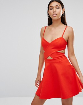 photo In Love Cut Out Skater Dress by WYLDR, color Orange - Image 1