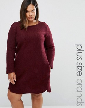 photo Shift Dress In Wool Mix by Elvi Plus, color Maroon - Image 1