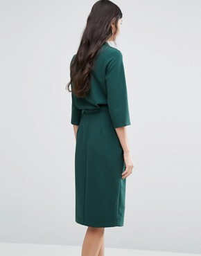 photo 3/4 Sleeve Wrap Front Dress with Lapels by Alter Tall, color Forest - Image 2