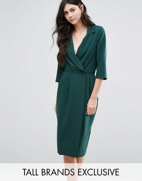 photo 3/4 Sleeve Wrap Front Dress with Lapels by Alter Tall, color Forest - Image 1