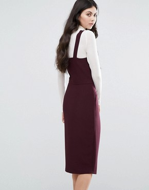 photo Wrap Front Dress with Square Neck and Cutaway Front Detail by Alter Tall, color Plum - Image 2
