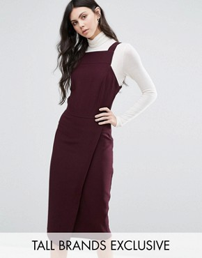 photo Wrap Front Dress with Square Neck and Cutaway Front Detail by Alter Tall, color Plum - Image 1
