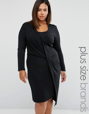 photo Wrap Dress with Draped Skirt by Elvi Plus, color Black - Image 1