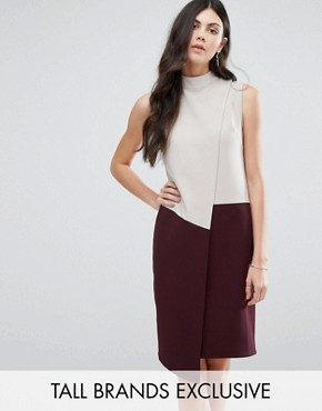 photo High Neck Asymmetric Colour Block Dress by Alter Tall, color  - Image 1