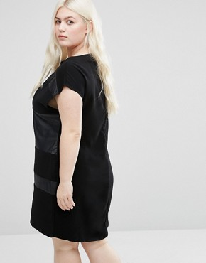 photo Shift Dress with Contrast Inserts by Elvi Plus, color Black - Image 2