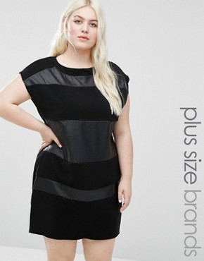 photo Shift Dress with Contrast Inserts by Elvi Plus, color Black - Image 1