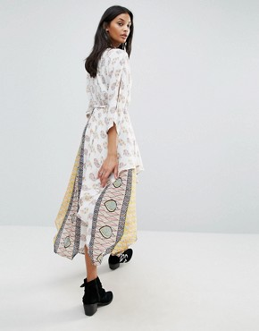 photo Golden Hour Printed Wrap Midi Dress by Raga, color  - Image 2
