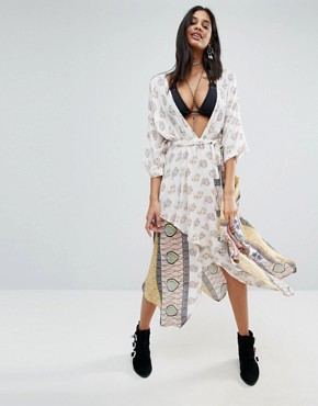 photo Golden Hour Printed Wrap Midi Dress by Raga, color  - Image 1