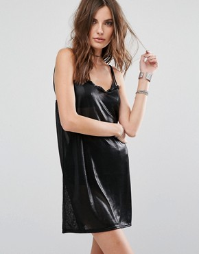 photo Metallic Slip Dress by Motel, color Black - Image 1