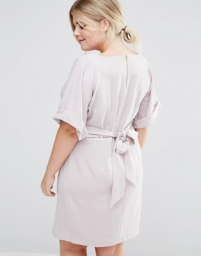 photo Kimono Sleeve Midi Dress with Tie Back Detail and Split Front by Closet London Plus, color Grey - Image 2