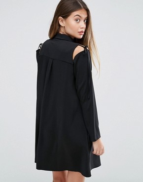photo Cold Shoulder Shirt Dress with Tie Detail by ASOS, color Black - Image 2