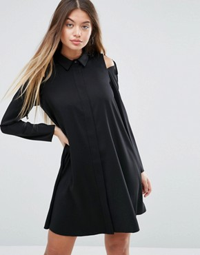 photo Cold Shoulder Shirt Dress with Tie Detail by ASOS, color Black - Image 1
