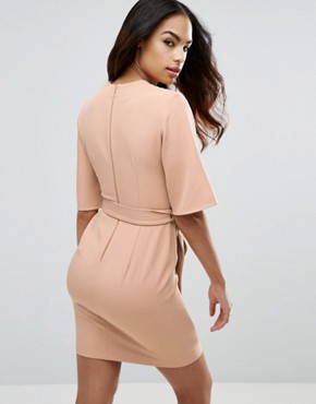 photo Clean Obi Tie Wrap Mini Dress by ASOS, color Sand - Image 2