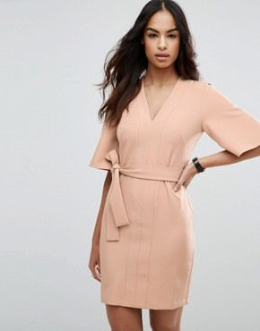 photo Clean Obi Tie Wrap Mini Dress by ASOS, color Sand - Image 1