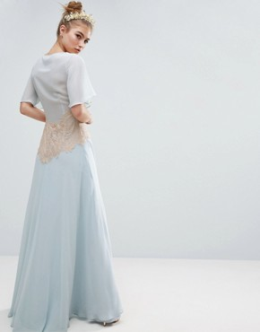 photo Contrast Lace Panel Maxi Dress by ASOS WEDDING, color Blue - Image 2