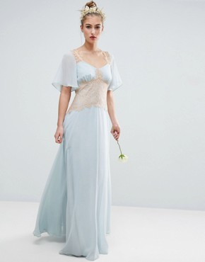 photo Contrast Lace Panel Maxi Dress by ASOS WEDDING, color Blue - Image 1