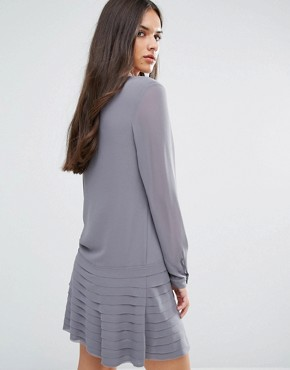 photo Mini Dress with Pleated Skirt by Sisley, color Grey - Image 2