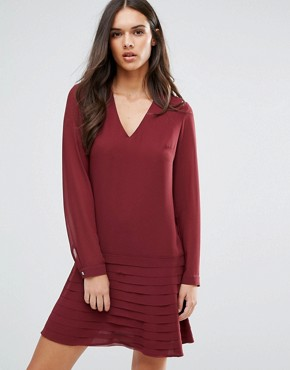photo Mini Dress with Pleated Skirt by Sisley, color Red - Image 1