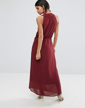 photo Maxi Dress with Woven Neck Detail by Sisley, color Red - Image 2
