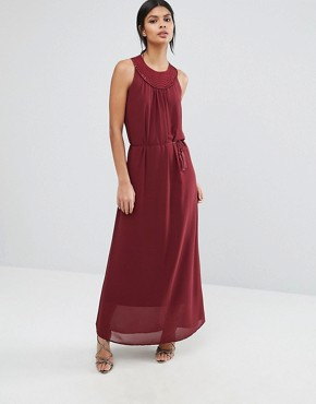 photo Maxi Dress with Woven Neck Detail by Sisley, color Red - Image 1