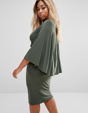 photo Wrap Front Cape Midi Dress by Club L Plus, color Khaki - Image 2