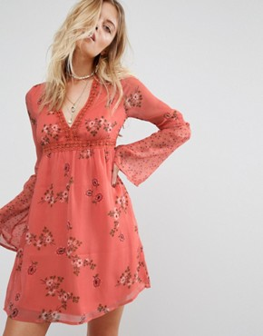 photo Printed Boho Swing Dress by Abercrombie & Fitch, color Pink - Image 1