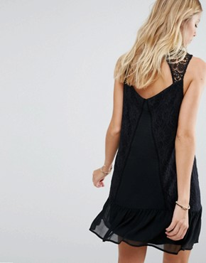 photo Sheer Lace High Neck Dress by Abercrombie & Fitch, color Black - Image 2