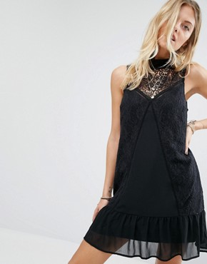 photo Sheer Lace High Neck Dress by Abercrombie & Fitch, color Black - Image 1