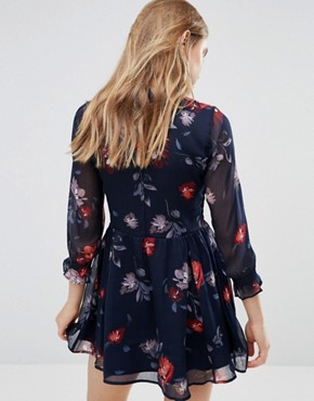 photo Tie Collar Printed Boho Swing Dress with Shirred Stretch by Abercrombie & Fitch, color Navy - Image 2