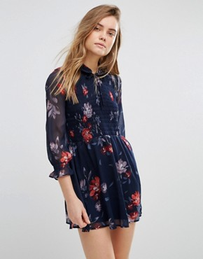 photo Tie Collar Printed Boho Swing Dress with Shirred Stretch by Abercrombie & Fitch, color Navy - Image 1
