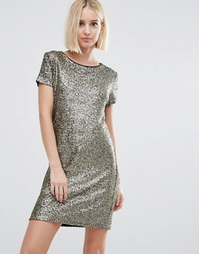 photo Angelica Sequin T-Shirt Dress by Pepe Jeans, color Gold - Image 1