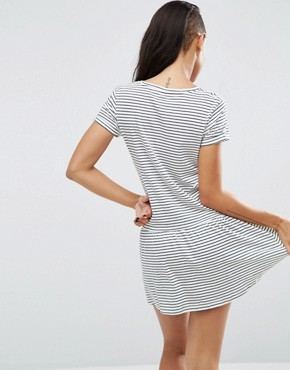 photo Xana Jersey Stripe Dropped Hem Dress by Pepe Jeans, color Ivory - Image 2