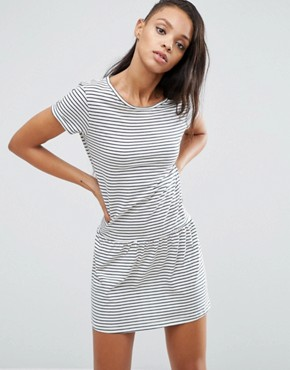 photo Xana Jersey Stripe Dropped Hem Dress by Pepe Jeans, color Ivory - Image 1