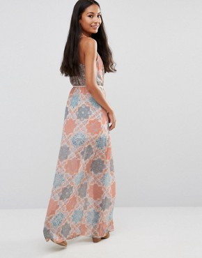 photo Palm Printed Maxi Dress by Pepe Jeans, color Sunset Orange - Image 2
