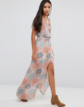 photo Palm Printed Maxi Dress by Pepe Jeans, color Sunset Orange - Image 1