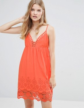 photo Nati Crochet Dress by Pepe Jeans, color Tangerine - Image 1