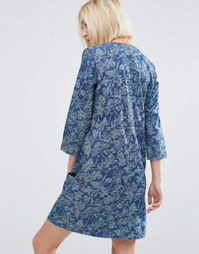 photo Ines Denim Floral Print Dress by Pepe Jeans, color Indigo - Image 2