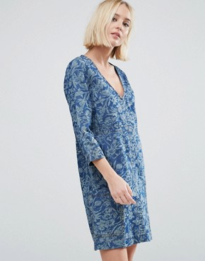 photo Ines Denim Floral Print Dress by Pepe Jeans, color Indigo - Image 1