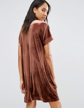 photo Allover Velvet Mini Shift Dress by One Day Tall, color Chocolate - Image 2