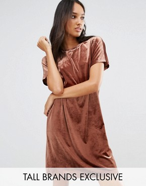 photo Allover Velvet Mini Shift Dress by One Day Tall, color Chocolate - Image 1