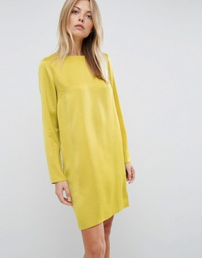 photo Mini Dress with Open Back by ASOS, color Chartreuse - Image 2