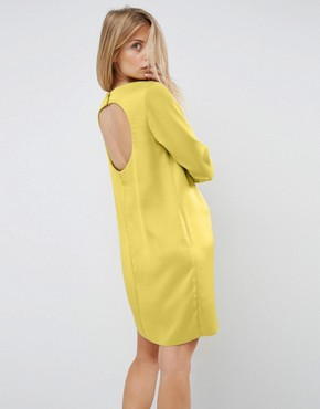 photo Mini Dress with Open Back by ASOS, color Chartreuse - Image 1