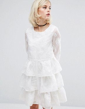 photo Floral Burnout Dress with Ruffles and Pleat Back by Lost Ink, color White - Image 1