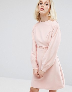 photo Button Detail Dress with Sleeve Detail by Lost Ink, color Pink - Image 1